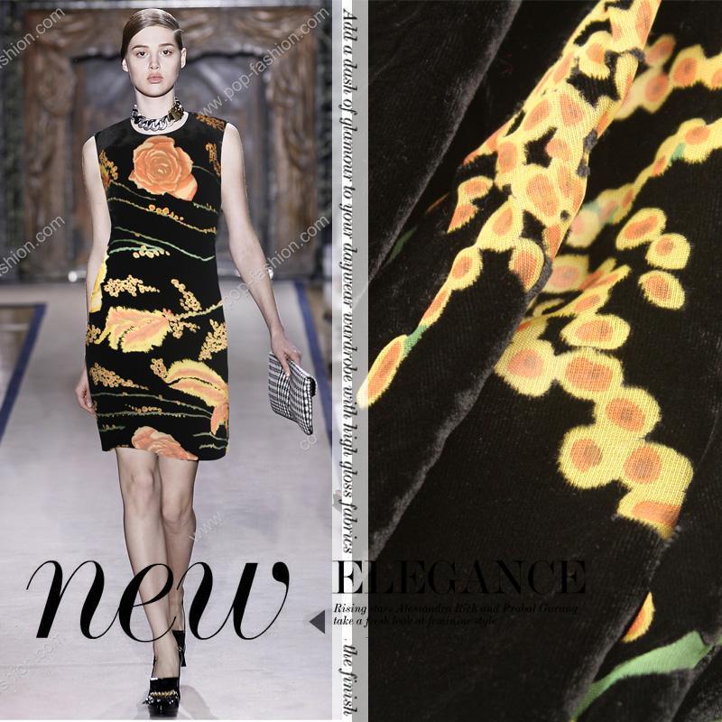 6d906fdb85 Szalony rabat telas wysokiej klasy luksusowe black żółte kwiaty Uciekają  tkaniny jedwabne tkaniny aksamitne dla sukienka garnitur tissus au metr