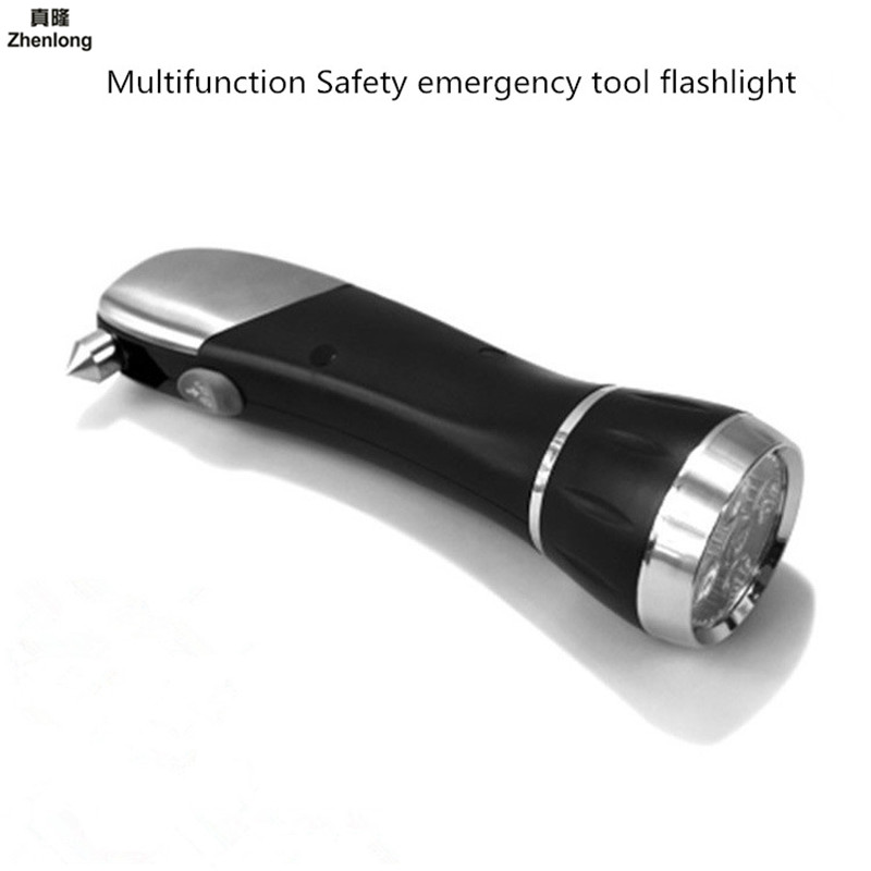 Multifunction Emergency Flashlight Car Use Car Window Breaker Escape Hammer Tool 8 In 1 LED Torch Camping Hiking Cycling