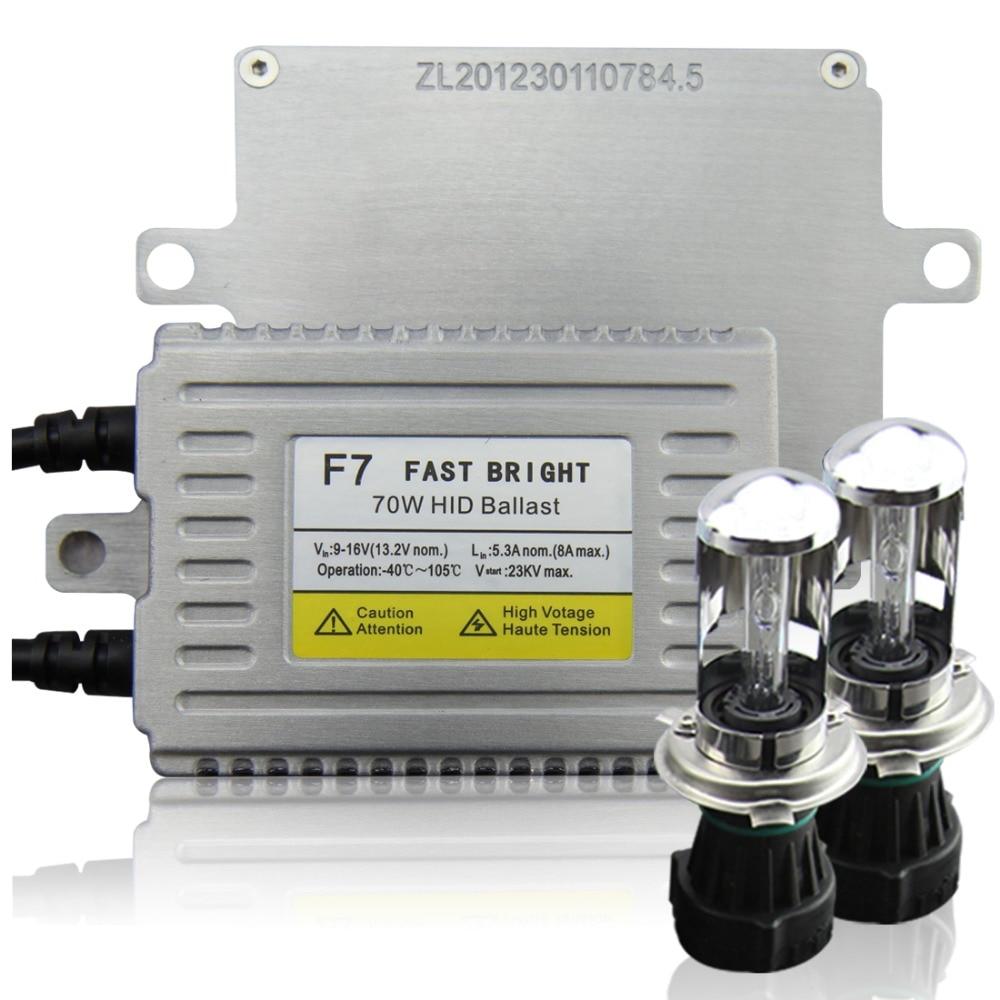AC F7 70W Fast Bright Ballast Xenon HID Conversion Kit H4 3 High Low beam Headlight