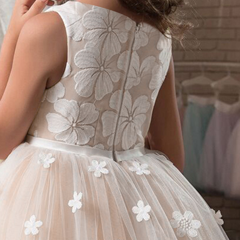 Fancy Girl Flower Petals Dress Children Bridesmaid Outfits Elegant Kids Dresses for Girls Party Prom Gown Princess Costume 6 14Y 6