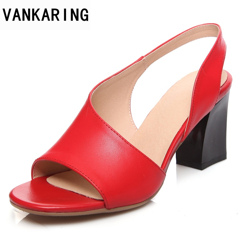 VANKARING 2018 new brand shoes women fashion square high heels sandals date casual summer sandals shoes women big size 34-43 anmairon shallow leisure striped sandals women flats shoes new big size34 43 pu free shipping fashion hot sale platform sandals