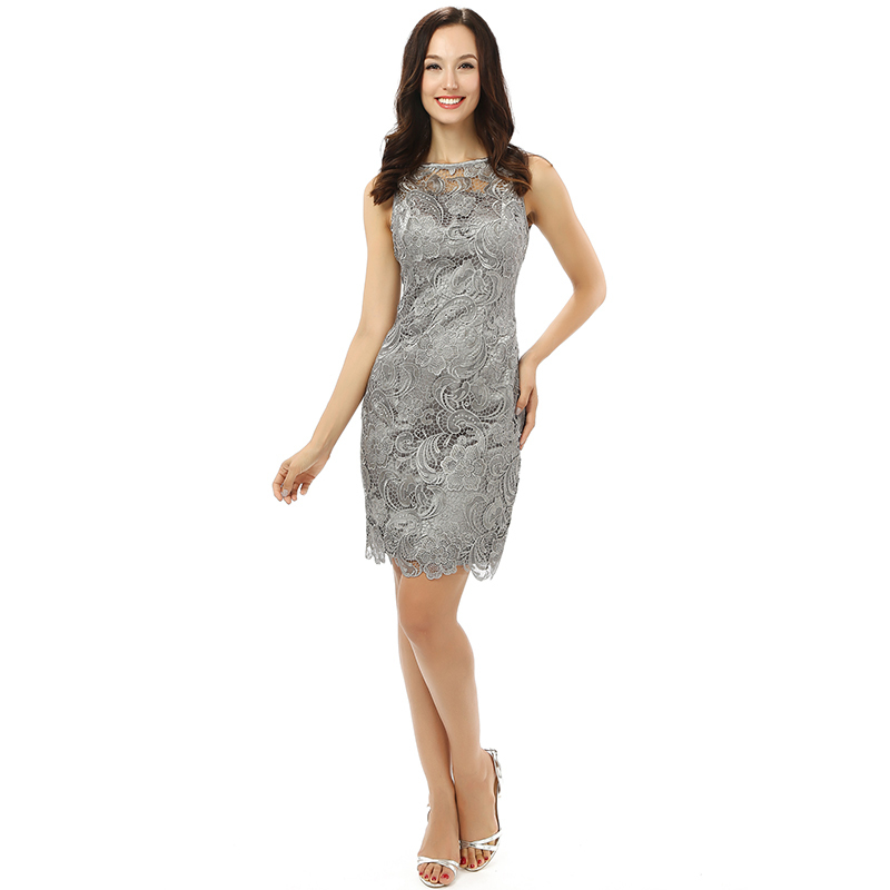 Weddings & Events 100% Real Pic Straight Silver Cocktail Dress Sexy Lace Sleeveless Party Gown Plus Size Custom Made Vestidos Para Cocktail Shrink-Proof