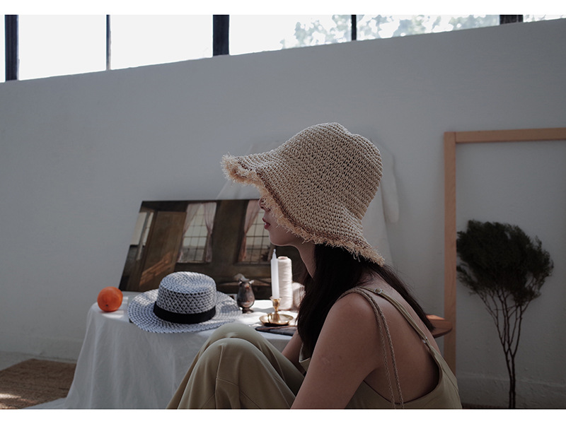 01805-duxiao4159 summer HANDMAD Etassel holiday beach straw paper shade lady leisure cap women bucket hat wholesale