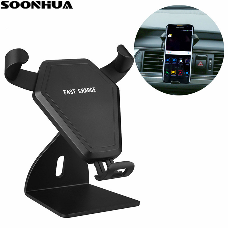 SOONHUA Qi standard Wireless Car Charger Induction Stretch Phone Holder Handsfree Car Kit Quick Charging Adapter For Smartphone