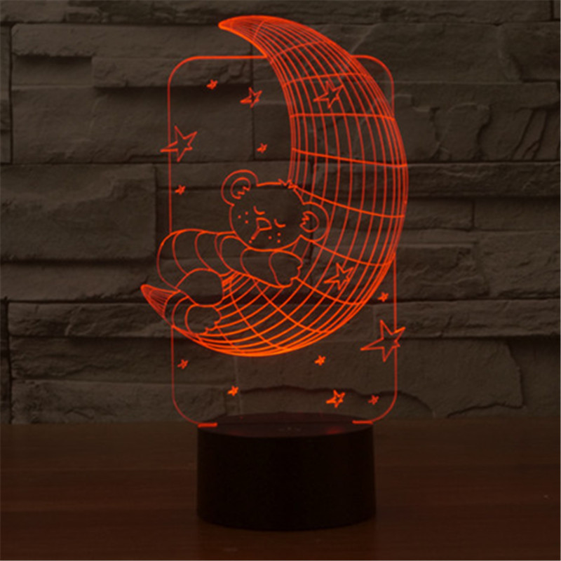 AUCD Colorful Changing 3D USB Childrens Bedroom LED Light Moon and Stars Sleeping Table Lamp Night Lights -29