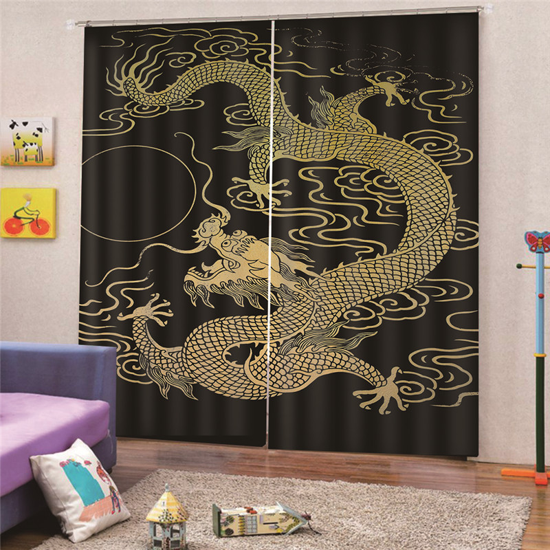 3D Digital Print Chinese Dragon Curtain Kitchen Bedroom Home Decoration Bathroom Curtains Drapes Home Decor AP15