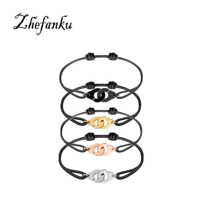 ZheFanku 1 Pc France Popular Famous Unisex Cool Jewelry Woven Handcuffs Bracelet For Women And Men Rope Bracelet