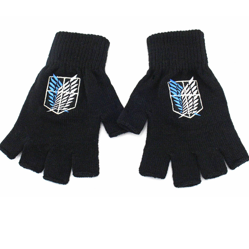 Anime Attack on Titan Investigation Corps Freedom Wings symbol half finger Plush knit gloves winter warm handschoenen