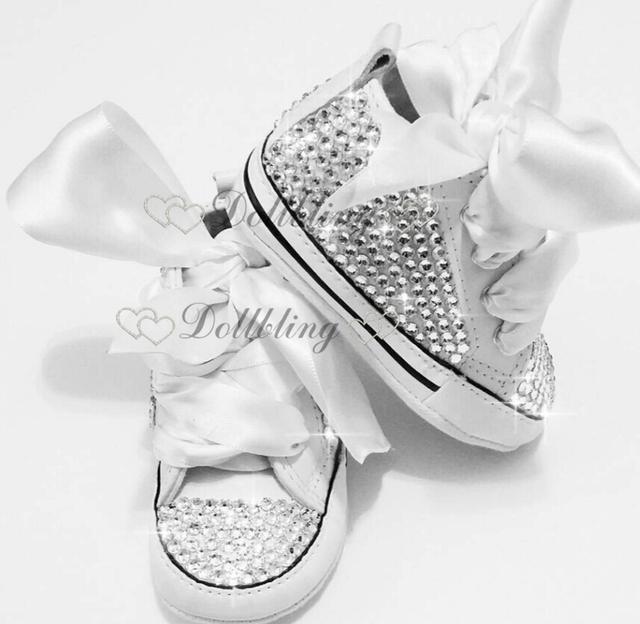 Bling Recién Nacido infantil hecha a mano de Encargo para el comprador de Bautizo arco magnífico sparkle glitter fabuloso sapatos primeros caminante