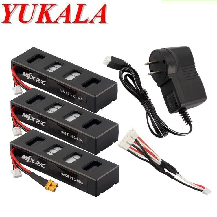 YUKALA B3 RC quadcopter RC drone 7.4V 1800mAh Li-polymer battery*3pcs +3 in 1 wall charger free shipping 3pcs 3 7v 900mah li po battery green european regulation charger and cable for remote control xs809 xs809hc xs809hw quadcopter