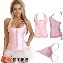 NEW red pink lace hanging neck underbust Sexy lingerie Waist Workout Cincher Body Shaper Shapewear Corset