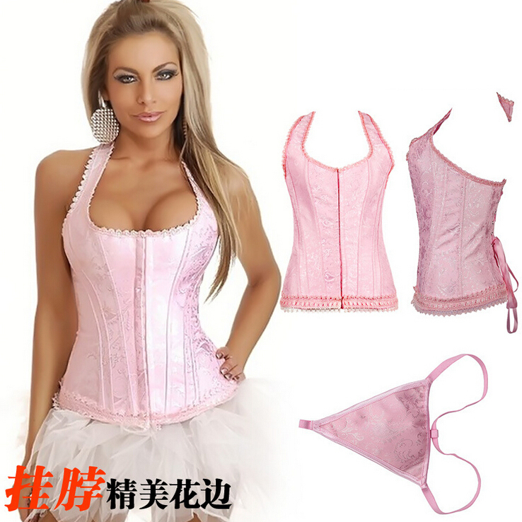 NEW red pink lace hanging neck underbust Sexy lingerie Waist Workout Cincher Body font b Shaper