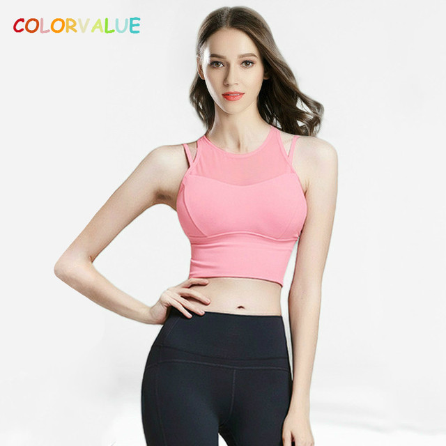 551160d104 Colorvalue Pro Double Layer Fitness Yoga Bra Top Women Shockproof High Neck  Sports Bras Mesh Patchwork