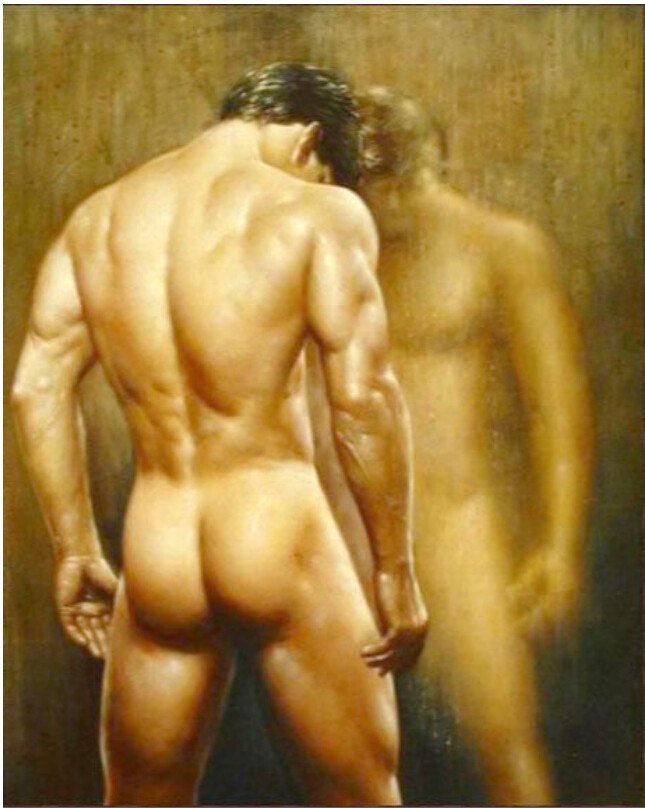 Large oil painting gay nude male portrait young man in bathroom canvas 36 d45