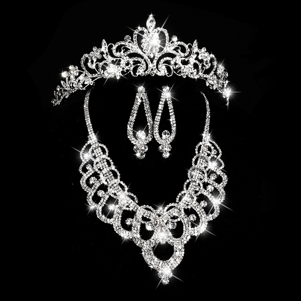 Bridal jewelry tiara - Wedding Jewelry For Women Luxurious Rhinestone Necklace Diamante Earring Crystal Pearl Crown Bridal Jewelry Sets Brand