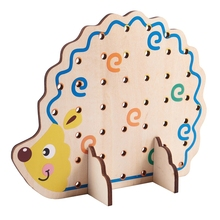 MWZ Wooden Fruits and Vegetables Lacing & Stringing Beads Toys with Hedgehog Board for Above 3 Years Old Kids
