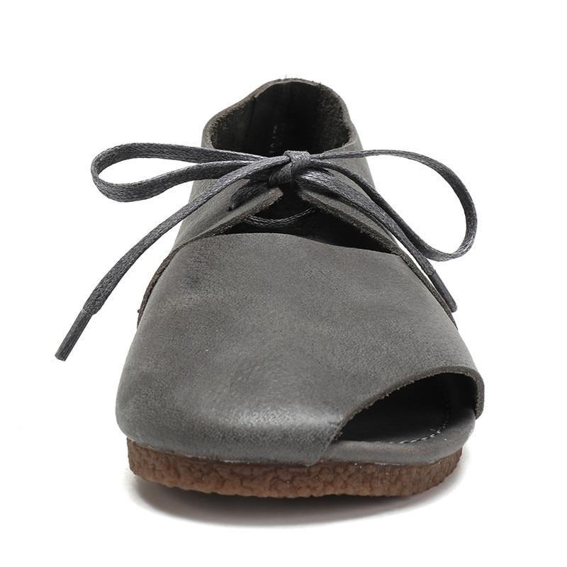 Qadın ayaqqabısı yay qadın təsadüfi düz sandalet krujeva - Qadın ayaqqabıları - Fotoqrafiya 5
