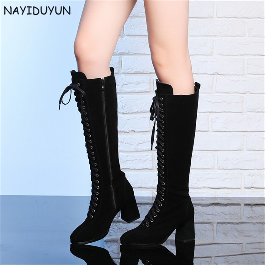 NAYIDUYUN    Fashion Women Black Full Suede Leather Round Toe Knee High Boots Lace Up High Heels Party Pumps Casual Office Shoes nayiduyun women genuine leather wedge high heel pumps platform creepers round toe slip on casual shoes boots wedge sneakers