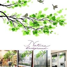 Green leaf film on the window, electrostatic glass film, bathroom matte sticker