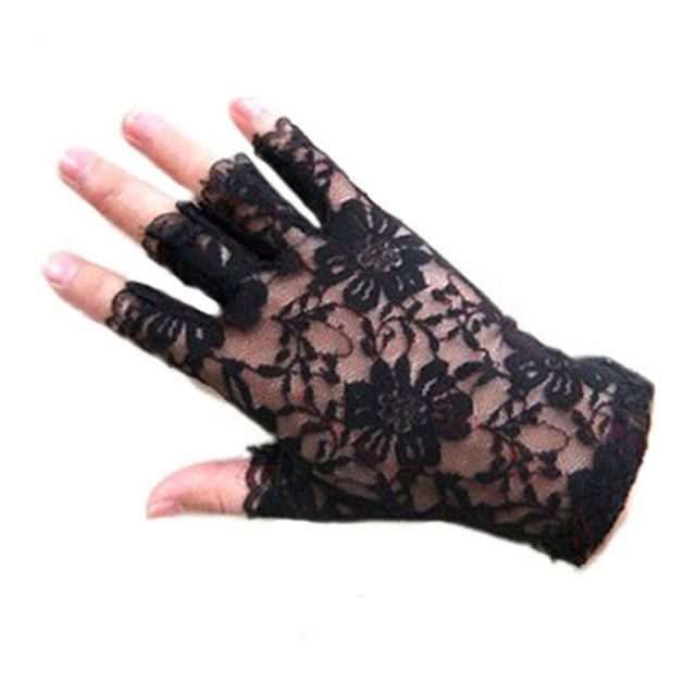 Womens Sexy Dressy Lace Gloves Sunscreen Short Gloves Fingerless Lace Driving Gloves Spring And Summer Mittens Accessories 2