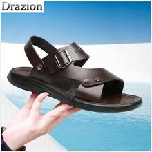 Пляжная обувь, новые мужские повседневные сандалии и шлепанцы, кожаные модные шлепанцы, дышащая обувь с мягкой подошвой