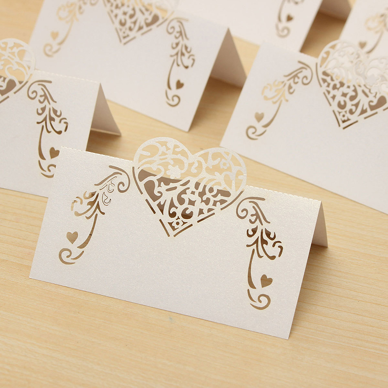 20Pcs Laser Cut Heart Shape Table Name Card Place Card Wedding Party DIY Decoration Favor (White)