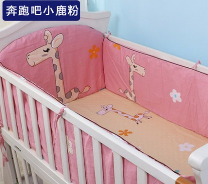 Promotion! 5PCS baby cot bedding set 100% cotton curtain crib bumper baby bed bumper ,include:(bumpers+sheet)