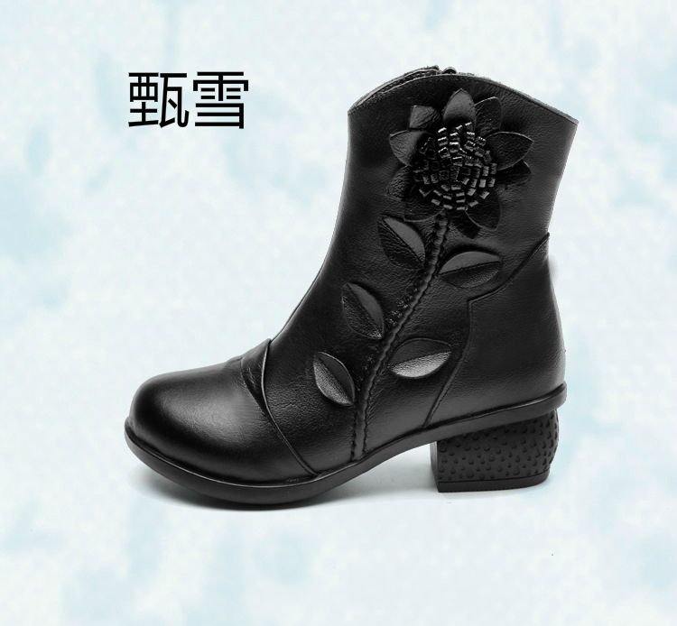 Zensnow2017 New Mid Autumn Boots, Handmade, Ethnic, Coarse, With Women's Shoes, Real Leather Ladies, Cotton Boots