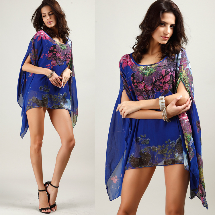 Boho Batwing Sleeve Chiffon Blouse Women Casual Floral Print Loose Kimono Shirts Big Size Beach Tunic Tops Shirt Robe in Cover Ups from Sports Entertainment
