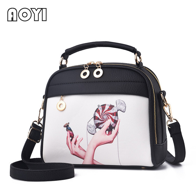 AOYI Women Shoulder Bag Messenger Crossbody Bags Fashion Print Beach Bag Evening PU Leather Clutch Bag for Lady Girls Handbag