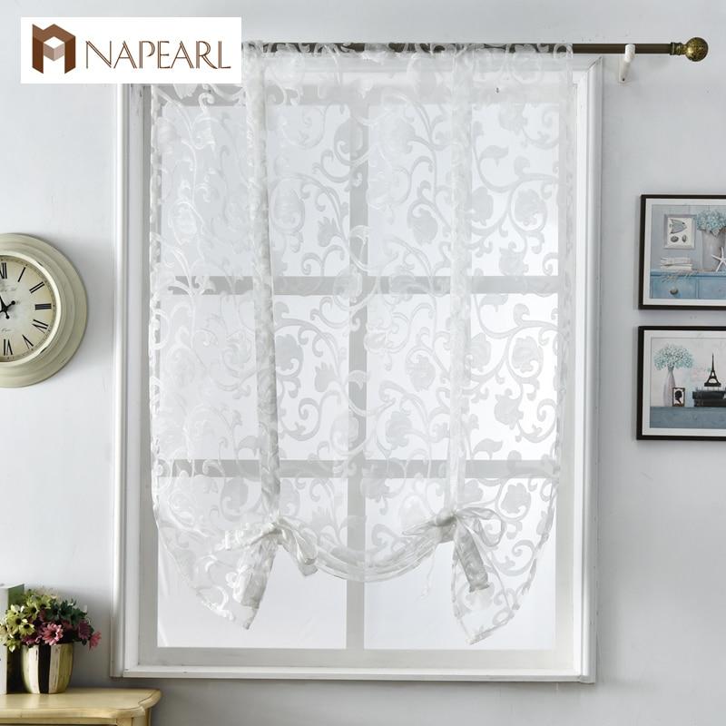 NAPEARL Short Kitchen Curtains Modern Design Jacquard Organza European Style Window Treatments Roman Blinds White Tulle