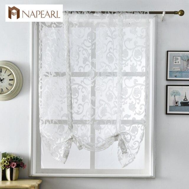 NAPEARL Короткие шторы для кухни современный дизайн жаккардовая органза Европейский стиль оконные драпировки римские шторы белый тюль