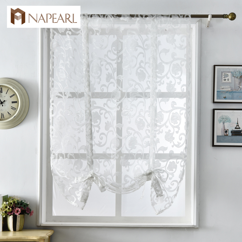 Short kitchen curtains modern design jacquard organza for Kitchen roman blinds contemporary