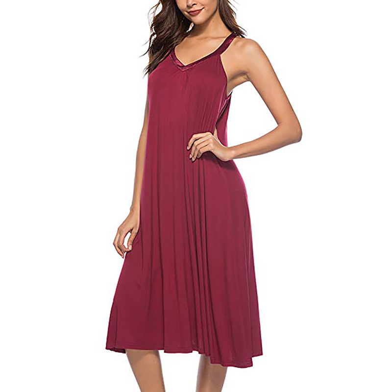 Sexy Sleeveless Casual Nightdress 2019 Women's V-Neck Nightgown Sexy Night Dress