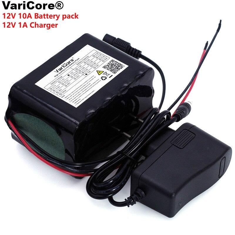 VariCore grande capacité 12 V 10Ah 18650 lithium batterie Rechargeable 12 v 10000 mAh 75 W lampe à LED xénon + 12.6 v 1A chargeur de batterie