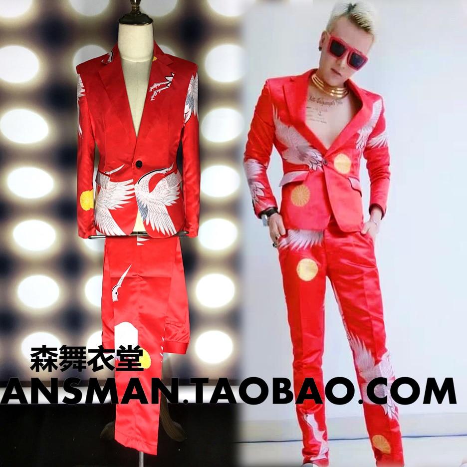 Fashion Male Singer DJ club guests gd Show suit red cranes Print Suit Costumes Men Blazers suits Stage show performance wear