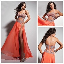 купить Free shippingBreezy Skirt See Through Bodice High Slit Front Long Sexy Evening Dress 2013 по цене 8792.71 рублей