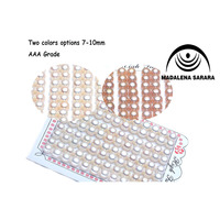 MADALENA SARARA Jewelry Expert Half Hole Freshwater Pearl Beads Semi round Flat Button Natural Pearl 3 Colors Options