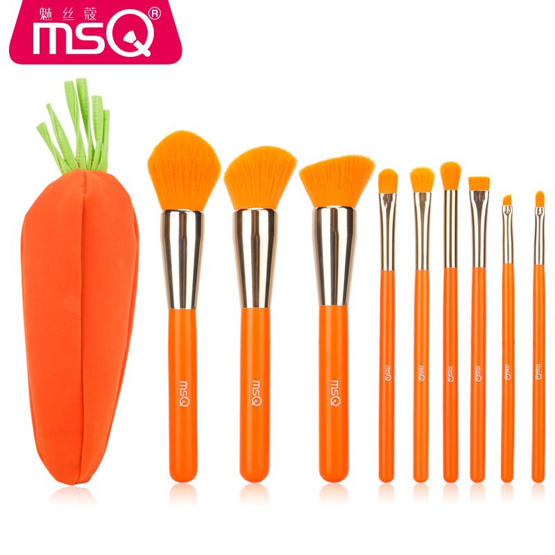 MSQ 9PCS Fashion Carrot Style Makeup Brushes Set Powder Foundation Mix Lip Eye Shadow Concealer Cosmetic Brush Tool +Carrot Case msq 8 stks starry sky makeup brush set powder foundation eye shadow lip cosmetics tool soft fluffy hair with pu leather case