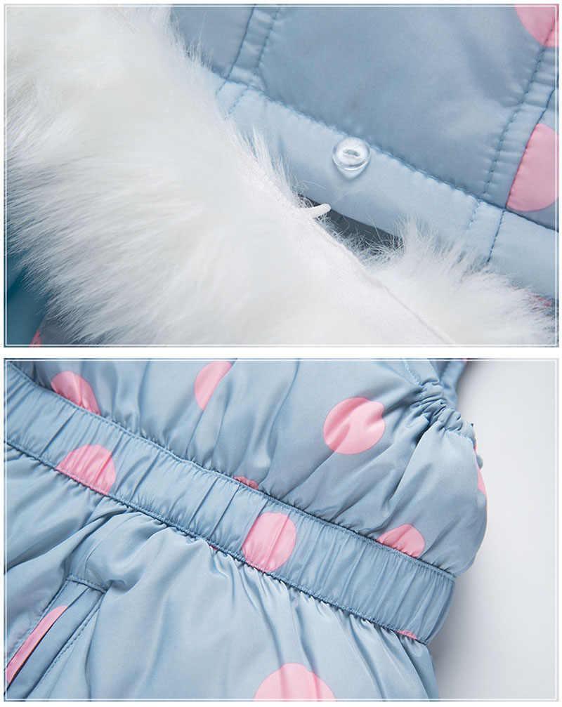 Ребенка с капюшоном зима теплый детский зимний комбинезон Костюмы 90% брюки на утином пуху куртка для маленьких девочек пальто для мальчиков с заячьими ушками пальто