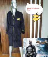 Adult Batman Robe Cloak Black Deluxe Coral Fleece Carnival Cosplay Costume Black Long Robes Sleepwear