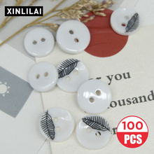 Plus Size 15/16MM 100pcs Resin Handmade Buttons Two Holes Coat Wooden White Feather Print Fashion Wholesale