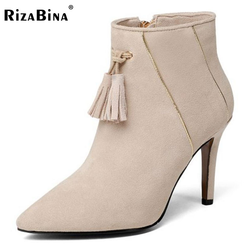 RizaBina Female Real Leather High Heels Ankle Boots Ladies Pointed Toe Zip Shoes Women Winter Warm Botas Footwear Size 33-39