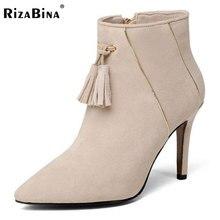Rizabina женский из натуральной кожи ботильоны на высоком каблуке женские острый носок обувь на молнии Для женщин теплые зимние Botas обувь Размеры 33-39