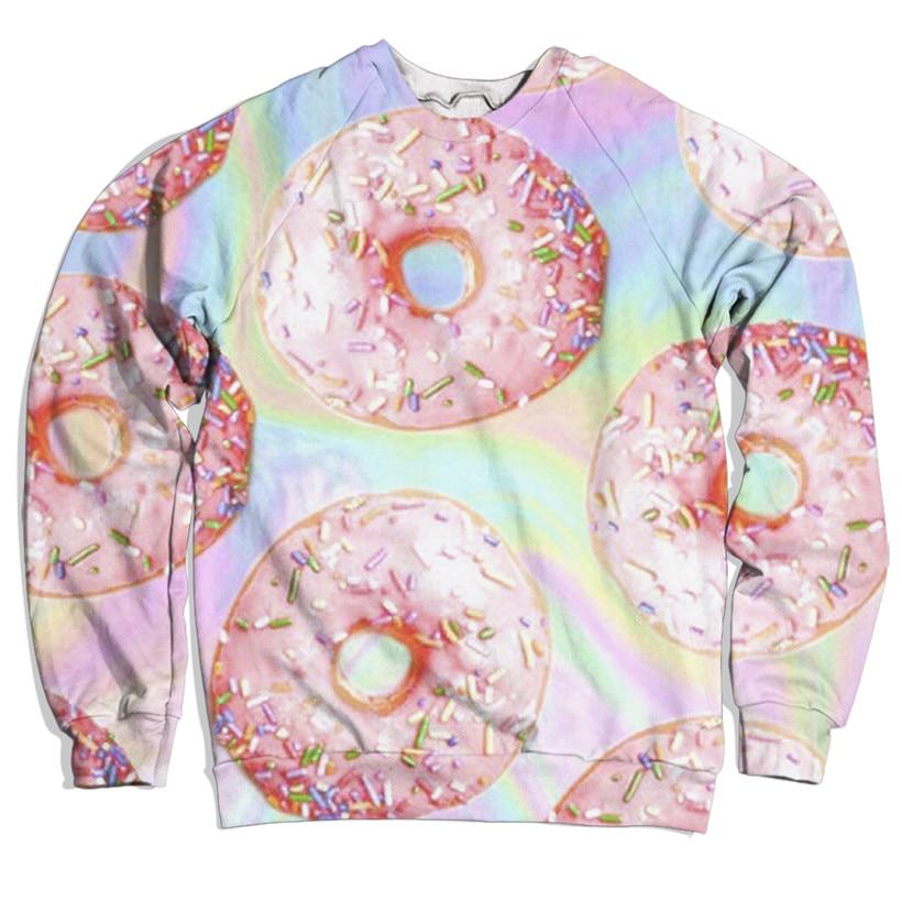 Real American size donut tie dye 3D Sublimation Print crew neck sweatshirt plus size