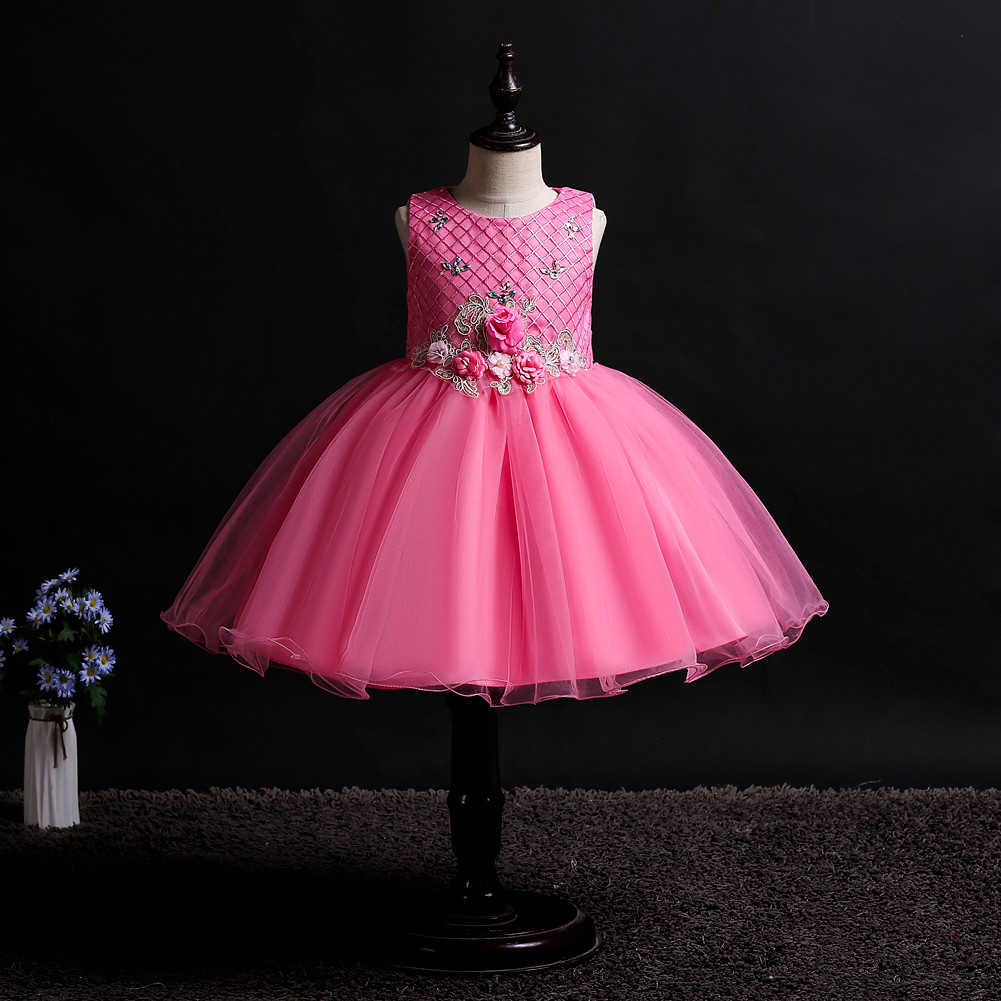 kids girl dress baby clothes wedding sleeveless princess tutu Wedding