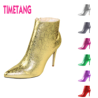 Amazing New Ankle Boot for Women Hot Sale Fashion SnakeSkin Pointed Toe High Thin Heel Sexy Lady Boot for Spring/Autumn/Winter