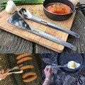 Многофункциональная посуда  портативный Съемный шпатель из нержавеющей стали  ложка  вилка Tong  инструмент для барбекю для путешествий  кемп...
