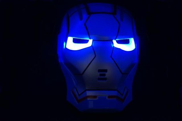 Super-heróis homem de ferro vingador led light up máscara toy kids cosplay do partido do traje azul