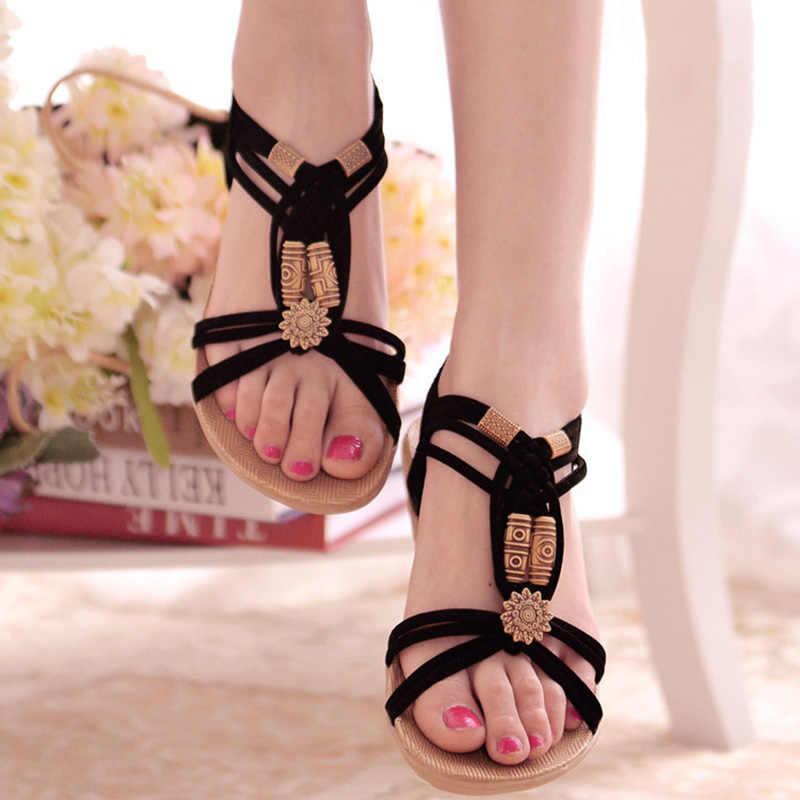 Wanita Sandal Bohemia Musim Panas Sepatu untuk Wanita Sandal Datar Sandal Gladiator Pantai Sepatu Sandalias Mujer 2019 Kasual Musim Panas Sandal